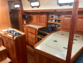Galley & large compartmentalized fridge