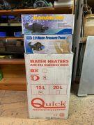 Chauffe eau Quick, pompe, accumulateur, strainer
